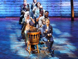 Cast Members on the Broadway stage performing the critically acclaimed show, Come From Away