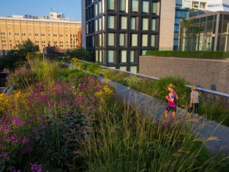People jogging on High Line Park in New York City's Meatpacking District