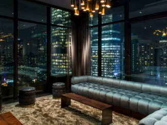 pic of a gorgeous suite featuring corner sofa, overlooking new york
