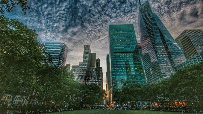 Panoramic view of Bryant Park located in Midtown Manhattan