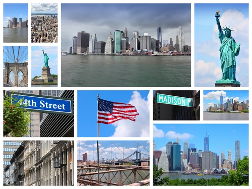 Collage made up of images of New York's famous structures including the Brooklyn Bridge, Statue of Liberty and the Manhattan skyline