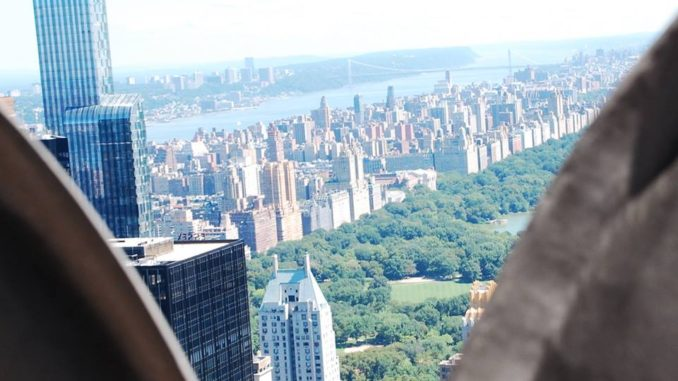 Great view of Central Park and the Brooklyn Bridge in the distance from the Top of the Rock at the Rockefeller Center