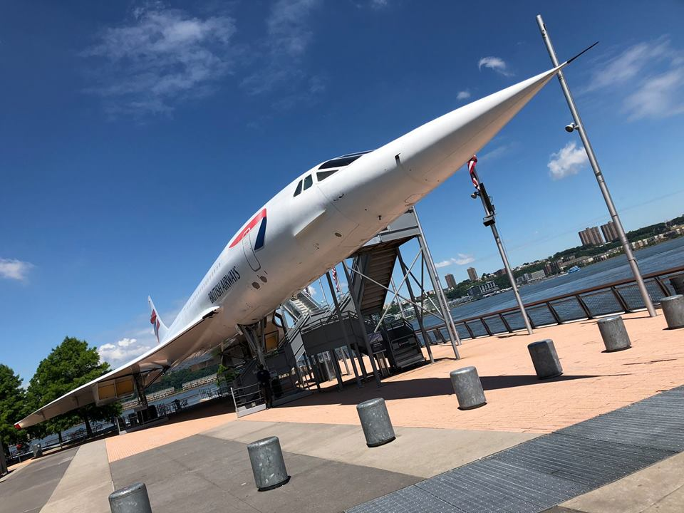 The British Airways Concorde next to river at the Intrepid Sea, Air & Space Museum in New York City.