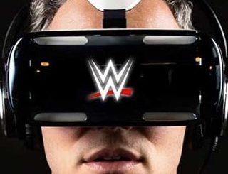 Man wearing a WWE virtual reality headset at VR World NYC.