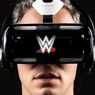 Man wearing a WWE virtual reality headset at VR World NYC.