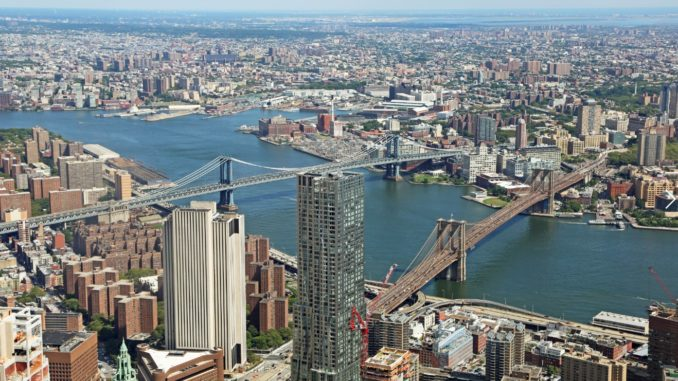 Birdseye view of NYC, including the river and bridges, from One World Observatory