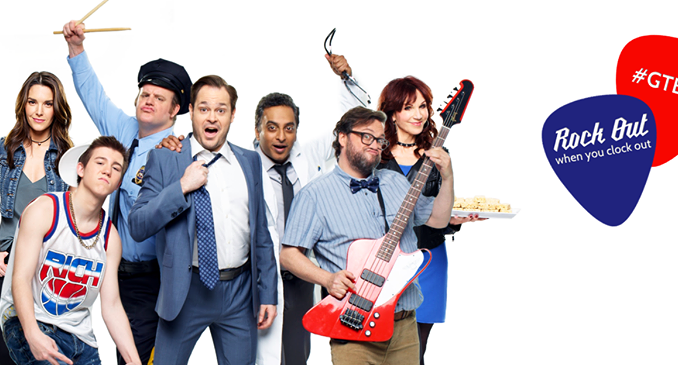 Poster for Gettin' the Band Back Together, featuring cast posing for camera with instruments