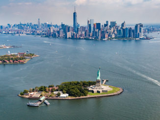 Womderful views of Manhattan across the Hudson River from a helicopter in New York