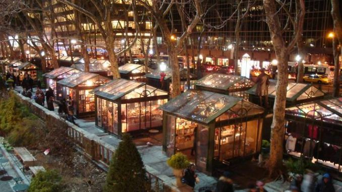 Winter Village in Bryant Park in New York City