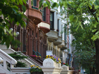 Brownstones on a neighborhood street in New York City
