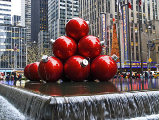 Red holiday ornaments on display in New York City