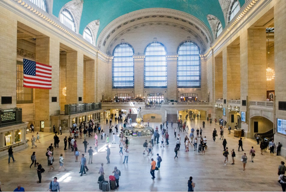 People commute in Grand Central station in New York in November