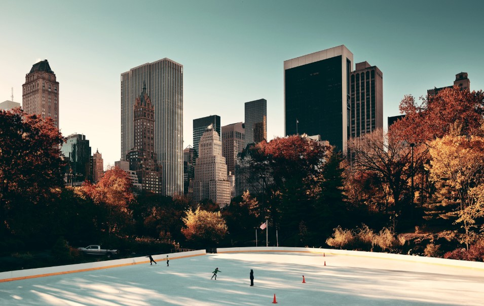 Overhead view of Central Park's ice rink