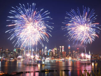 New York City firework show from the Hudson River in Manhattan