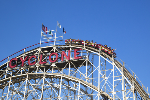 Historical landmark Cyclone roller coaster in Coney Island New York