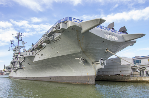 Exterior view of the massive USS Intrepid, New York
