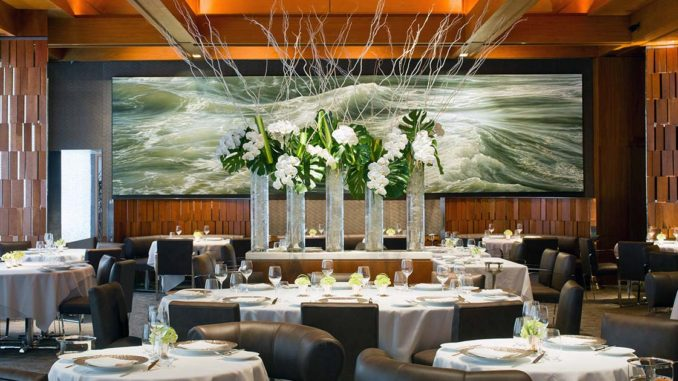A close look at the upscale and trendy interior of Le Bernardin Restaurant New York