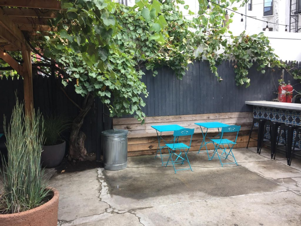 Courtyard view of Claro Restaurant in Brooklyn New York