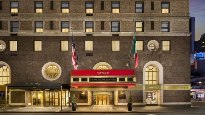 entrace of the Michelangelo one of the best 5 star hotels in new york