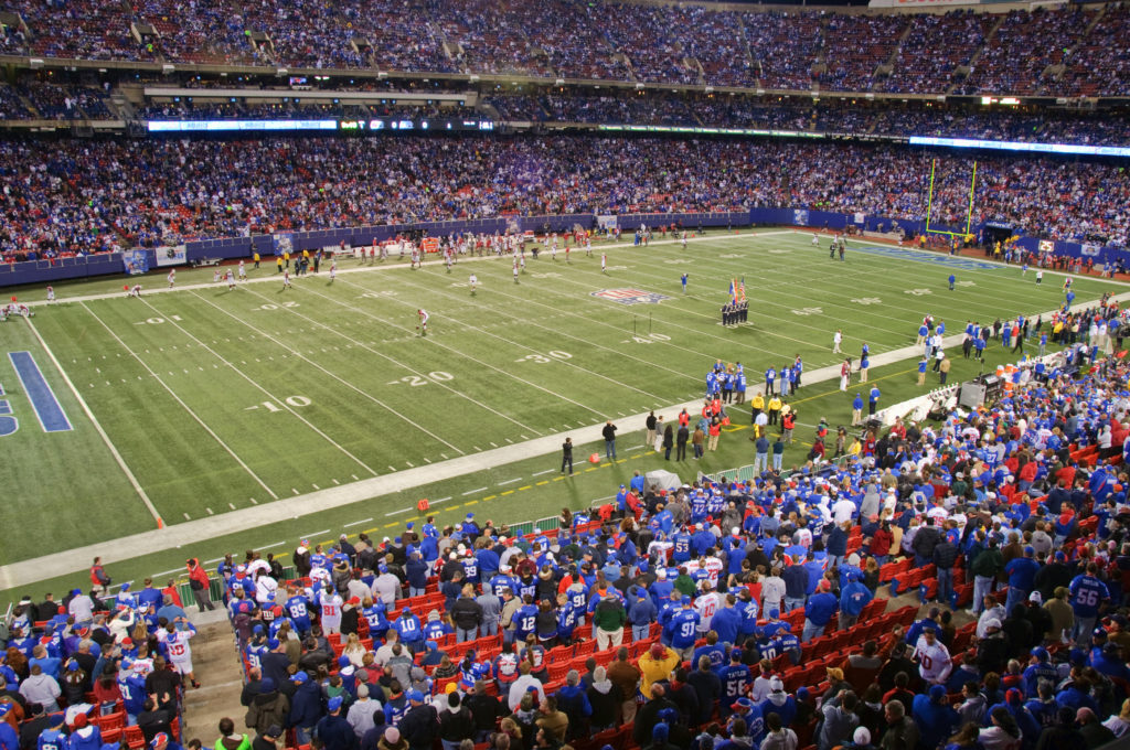 A pitch side view of New York Sports team the Giants playing a home game at the Metlife Stadium