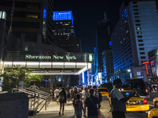 Outisde of the Sheraton Hotel, one of the best 4 star hotels in new york