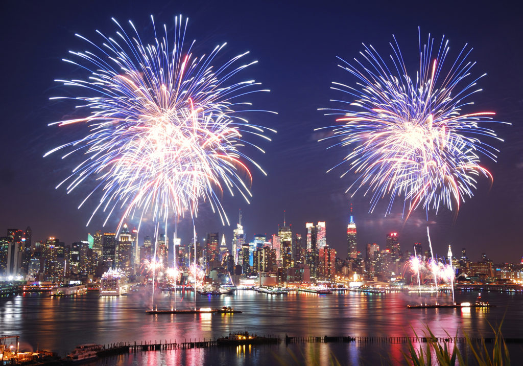 A fire work display to celebrate USA's independance on 4th July New york in july