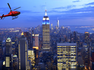 View of a helicopter tour flying over New York City - unique things to do in NYC