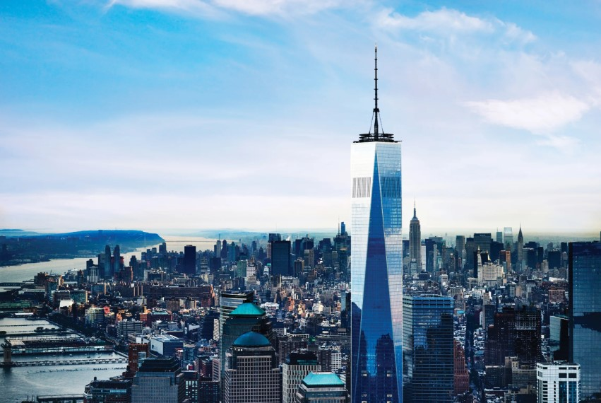 The One World observatory stands high above the city of New York