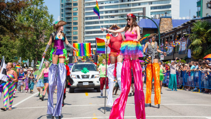 colourfully dressed women on stilts for gay pride in new york in june