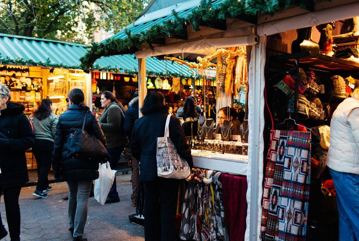 People shopping at Union Square holiday market in New York in November
