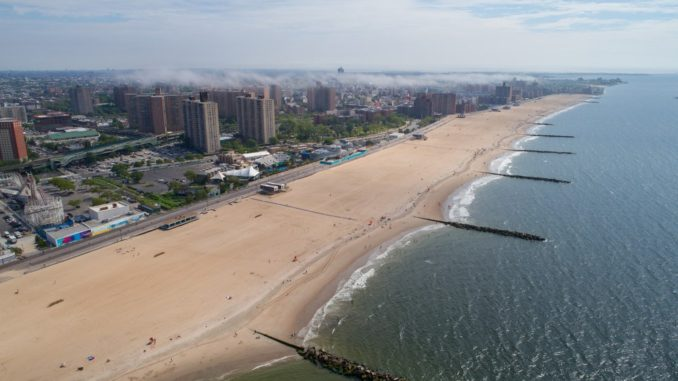 Overhead shot of Coney Island beach in New York