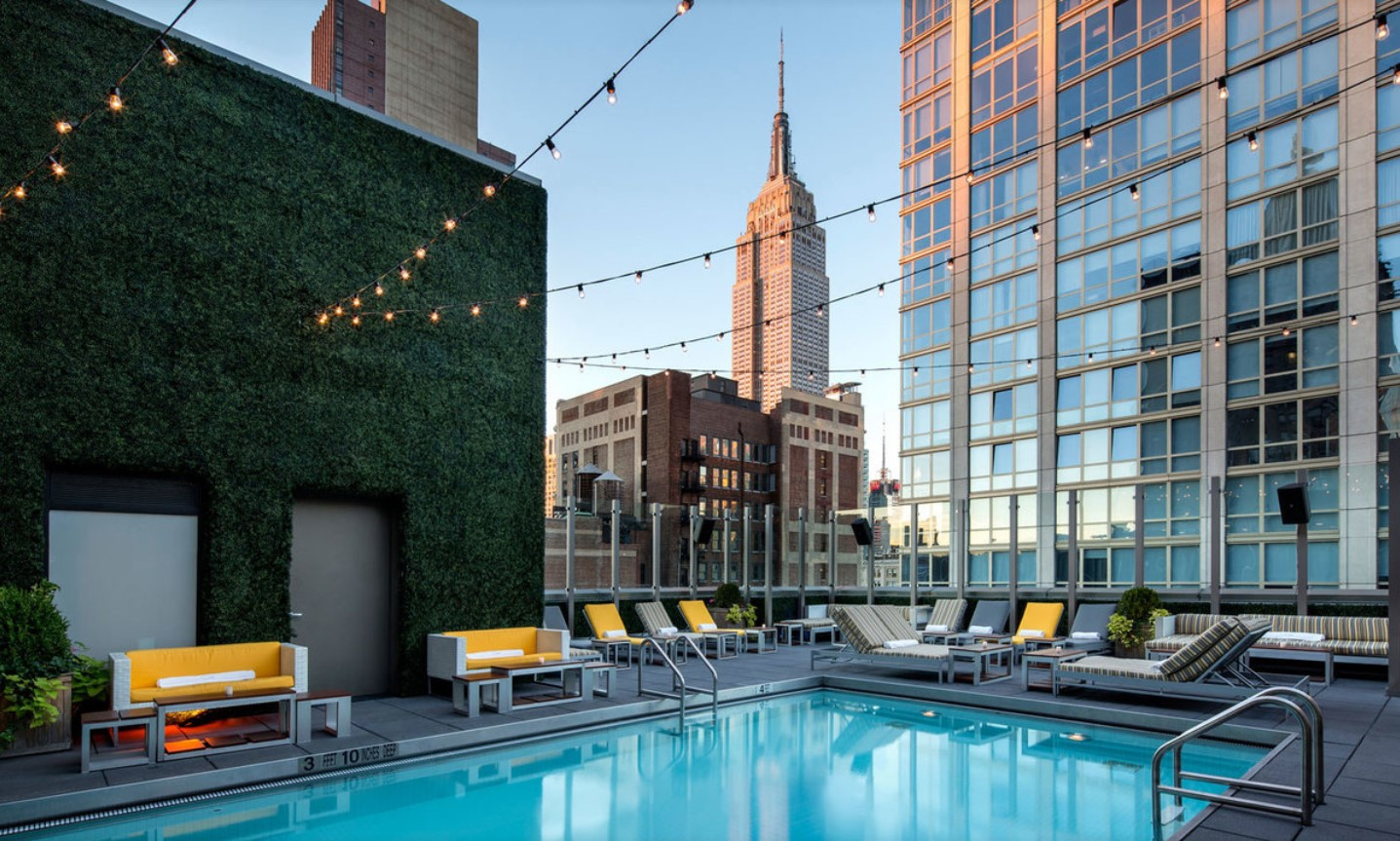 Rooftop pool with Empire State Building in background